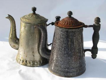 antique coffee pots, vintage graniteware enamel, tin w/ old wood handle