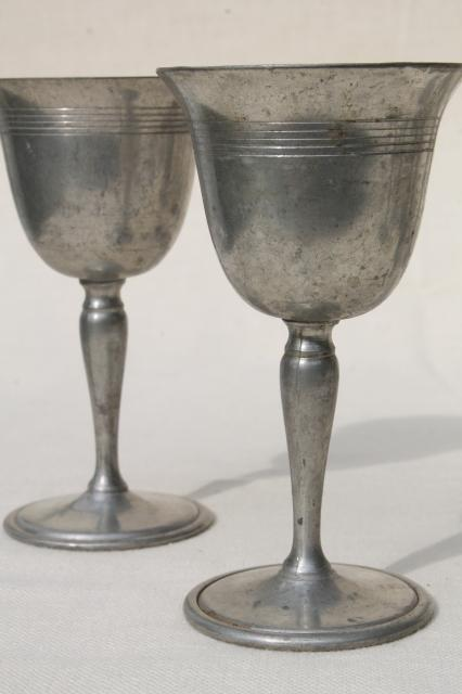 Antique Colonial Style Vintage Pewter Goblets Sherry Wine