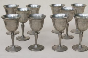 antique colonial style vintage pewter goblets, sherry wine glasses set of 10