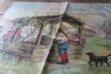 antique color litho print cotton fabric, Old Oaken Bucket late Victorian children illustration