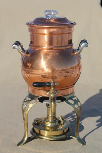 Antique Copper Coffee Urn Samovar Coffee Percolator W