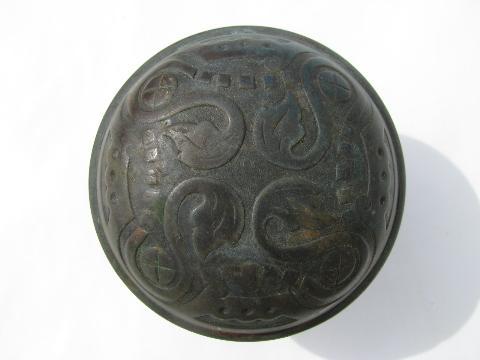 Antique Copper/bronze Artsu0026Crafts/Viking Revival Door Knob U0026 Escutcheon  Plates