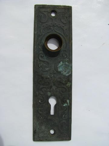 antique copper/bronze Arts&Crafts/Viking Revival door knob & escutcheon plates