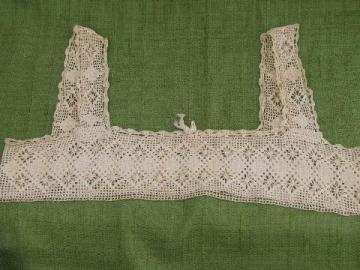 antique cotton crochet lace camisole yoke, bodice straps and neckline