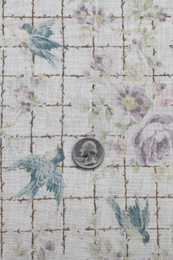 antique cotton fabric with bluebirds and flowers print, early 1900s vintage curtain panel