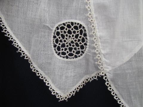 antique cotton lawn apron w/ tatted edging, hand-made lace tatting
