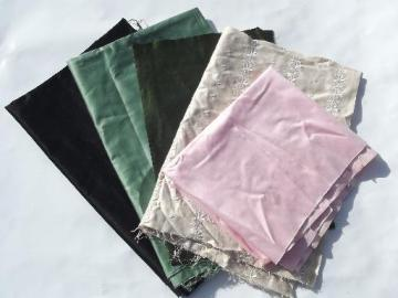 antique cotton sateen fabric lot, soft satiny sheen, lovely old colors!