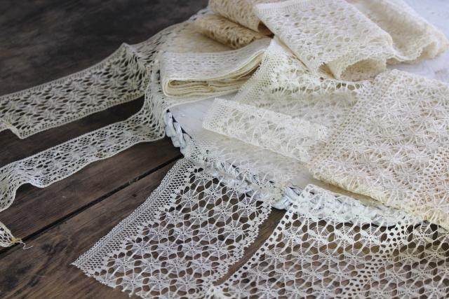 antique cotton thread lace edging, cobweb wheels & flowers, tenerife needle lace?