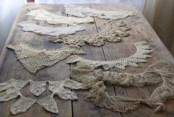 antique crochet lace collars, lot Victorian Edwardian vintage dress trims