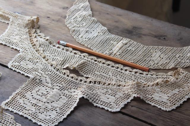antique crochet lace yokes, turn of the century vintage heirloom sewing trim for dresses or whites