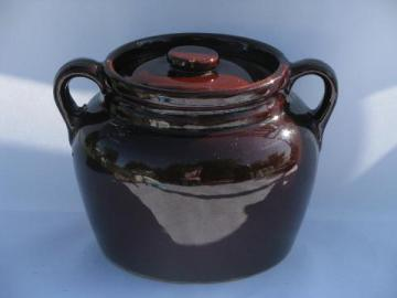 antique crockery bean baker pot, vintage kitchen crock jar, USA pottery