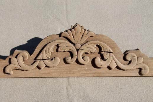 Antique Crown Molding Pediment W Carved Wood Scroll