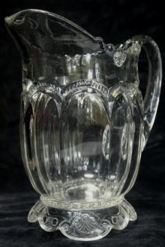 antique crystal clear glass water pitcher, Empress double arch pattern 1890s EAPG