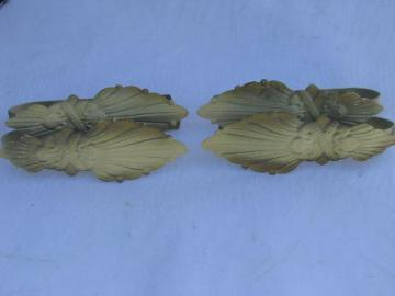 antique curtain drapery tie-backs, metal tole feathers or leaves, vintage paint