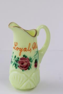 antique custard glass pitcher, hand painted souvenir of Loyal Wisconsin