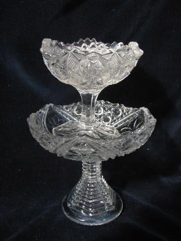 Antique Cut Pattern Pressed Glass Vintage Comport Bowl