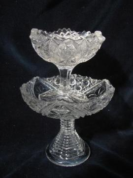 antique cut pattern pressed glass, vintage comport bowl & pedestal dish