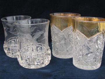 antique cut star & block pressed glass tumblers, two different old patterns