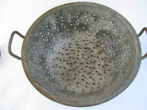 Antique Dairy Strainer Kitchen Colander Basket Large