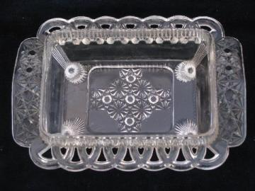 antique daisy & button pattern pressed glass 1 lb butter block dish, EAPG vintage