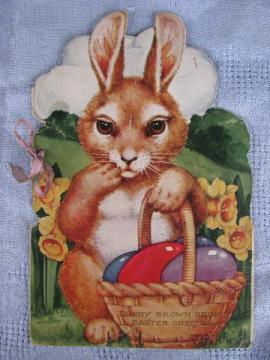 antique die-cut Easter card w/ story book, Bunny Brown and egg basket