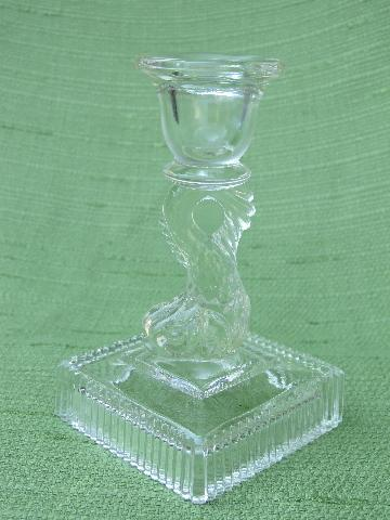 antique dolphin (fish) pattern candlesticks, vintage Imperial glass
