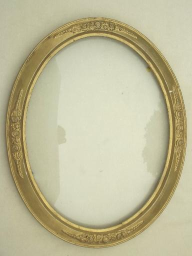 Antique Domed Glass Picture Frame W Bubble Convex Curved Glass
