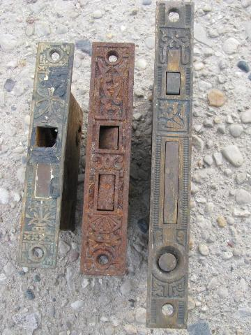 antique door hardware, old Corbin mortise locks w/ ornate brass face plates