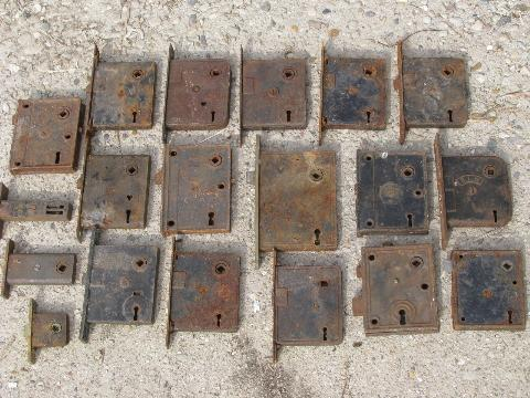 Antique Door Locks antique door hardware, old box locks, vintage mortise lock lot