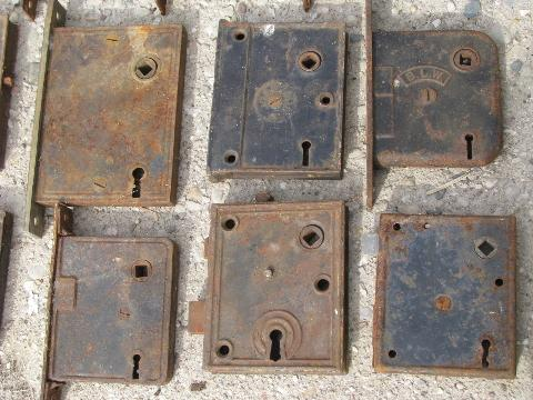 antique door hardware chicago box locks vintage mortise lock lot laurel leaf farm item ebay barn pocket for sale