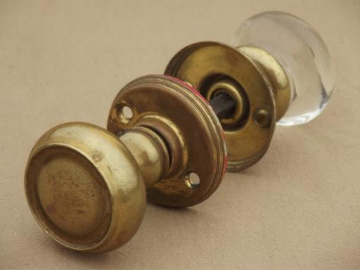 Antique Door Hardware, Vintage Mercury Silver Glass Doorknob U0026 Solid Brass  Door Knob