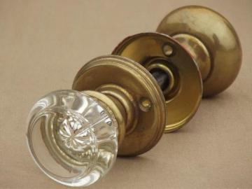 antique door hardware, vintage mercury silver glass doorknob & solid brass door knob