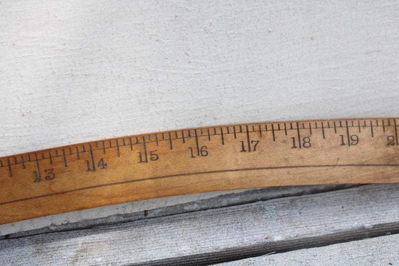 antique drafting tool, brass tipped wood measure slope shape ship curve vintage industrial