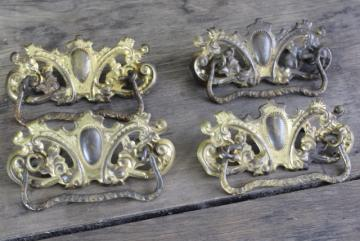 antique drawer pulls, shabby ornate french country style gilt brass embossed handles