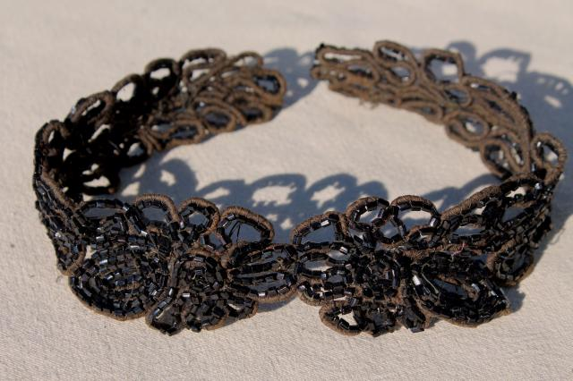 Antique dress trim victorian vintage jet black glass beaded