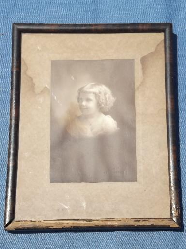 antique early 1900s baby picture, cabinet photo in shabby old wood frame