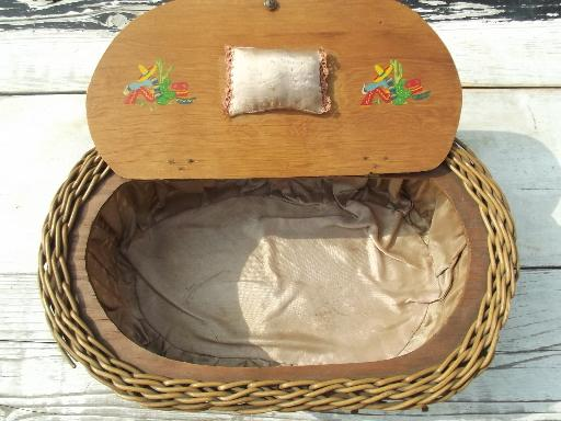 antique early 1900s plank bottom sewing basket, adirondack camp style
