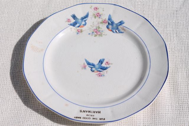 antique early 1900s vintage china plate For a Good Baby w/ bluebirds of happiness
