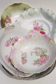 antique early 1900s vintage china serving bowls w/ hand painted flowers, pink roses
