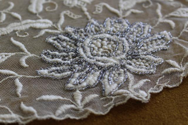 antique early 1900s vintage embroidered net lace shawl collar w/ hand beaded silver flowers