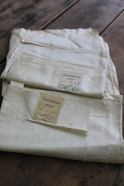 antique early 1900s vintage fabric, pure linen remnants w/ old paper labels