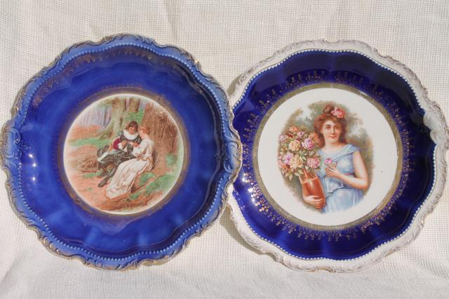 antique early 1900s vintage painted plates romantic scene \u0026 portrait of a lady & antique early 1900s vintage painted plates romantic scene ...