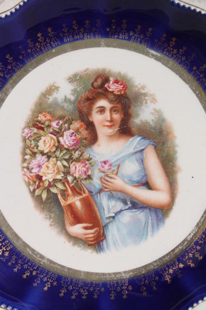 antique early 1900s vintage painted plates romantic scene u0026 portrait of a lady  sc 1 st  Laurel Leaf Farm & antique early 1900s vintage painted plates romantic scene ...