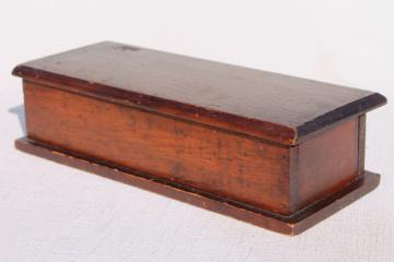 antique early 1900s vintage pine wood box, small jewelry casket dresser box or instrument case