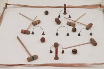 antique early 1900s vintage table game, tabletop croquet set w/ tiny wood balls & mallets
