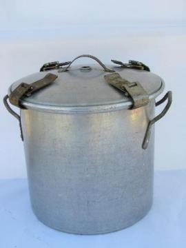 antique early aluminum camping pot & lid w/1910 patent date