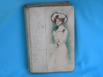 antique early century book of Tennyson's poems pretty girl art binding