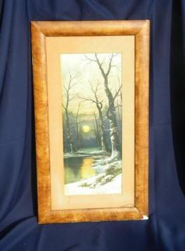 antique early century print w/grain painted frame, winter moonrise 1909
