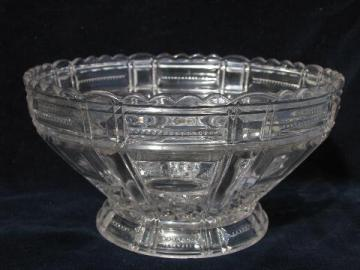 antique early century vintage pressed glass fruit or salad bowl, pleated bands