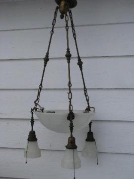 antique early electric brass pendant light, glass dome & shades, vintage lighting